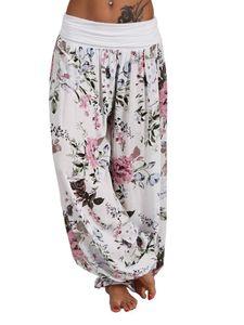 Frauen Yoga Hose Baggy Hippie Harem Boho Strand Hose mit weitem Bein Sport Beiläufig,Farbe:Weiß,Größe:XL