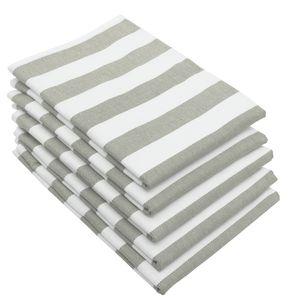 5er Set Geschirrtücher, Baumwolle, 50x70 cm, grau weiß gestreift