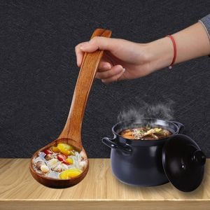 2 Stücke Lange Natürliche Hölzerne Suppenkelle Gerade Griff Kitchen Scoop