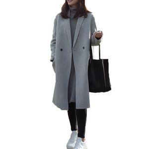 Damen Woll-Mantel Light Coat Trenchcoat Frauen Mantel Outwear Größe:M, Farbe:Grau