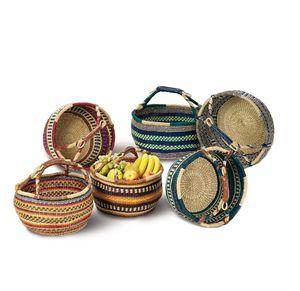 Einkaufskorb 40cm rund aus 100% natürlichem Seegras - Farben sortiert - Tasche geflochten Bolga Korb