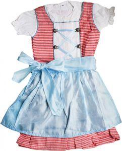 3-tlg Kinder Dirndl Mädchendirndl Dirndlbluse Dirndlschürze Kleid Rot/Blau Kariert Schürze, Größe:110