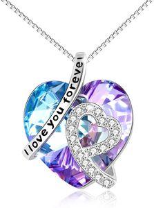 """Kette Herz Sterling Silber""""Ich liebe dich für immer"""" Halskette Damen Anhänger mit Geburtsstein Kristallen I Love You Forever (Lila)"""