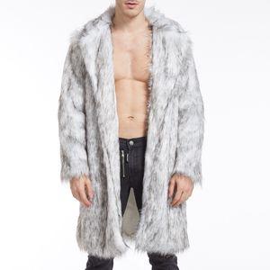 Herren Winter Faux Fox-Fur 'Mantel Turn-Down-Kragen Lange Jacken Warm OverCoat Größe:XL,Farbe:Grau