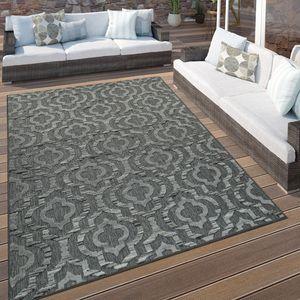 In- & Outdoor Terrassen Teppich Ethno Muster Bordüre Wetterfest Modern In Grau, Grösse:160x230 cm