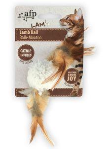 Lammfellball mit Vogelsound - Katzenspielzeug - weiss