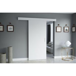RAJMI I Schiebetür Zimmertür Holzschiebetür Weiß 80 cm + Selbstschließmechanismus