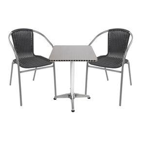 Bistrogarnitur 3-teilig Aluminium - Stahl -  Rattan / Silber-Schwarz