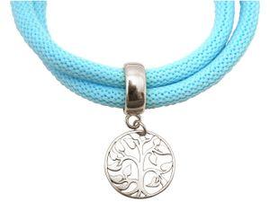 Gemshine - Damen - Armband - Wickelarmband - 925 Silber - Lebensbaum - Blau