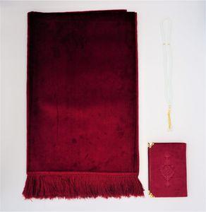 Lale Collection® Luxus Samt Gebetsteppich-Set Berry Rot Gebetskette + Koran arabisch Seccade Namaz Bayram Sejjada Tesbih Quran Muslim Islam