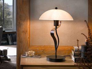 Moderne Landhaus Tischleuchte 49cm hoch mit LED & Lampenschirm aus weißem Glas