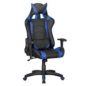 AMSTYLE SCORE - Gaming Chair aus Kunstleder in Schwarz/Blau| Schreibtisch-Stuhl in Leder-Optik | Design Racing Chefsessel mit Armlehne | Gamer Bürostuhl mit Racer Sport-Sitz und Kopfstütze