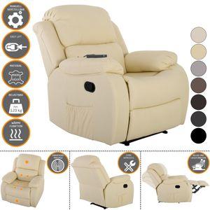 Raburg Fernsehsessel HANNE in VANILLE mit elektrischer Massage - Schlafsessel XXL mit mechanischer Liege- & Relaxfunktion Easy-Lift, aus Soft-Touch-Mikrofaser  + leichte Wärme-Funktion