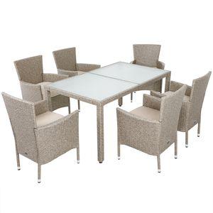 Casaria Poly Rattan 6+1 Sitzgruppe Sitzgarnitur Grau Beige stapelbare Stühle 7cm Auflagen wetterfestes Polyrattan Gartenmöbel Essgruppe Set