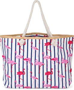 styleBREAKER XXL Strandtasche mit Streifen Flamingo Print und Reißverschluss, Schultertasche, Shopper, Damen 02012252, Farbe:Weiß-Dunkelblau
