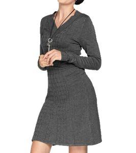 BOYSEN´S Strick-Kleid leicht ausgestelltes Damen Herbst-Kleid mit Zopfstrickmuster Grau, Größe:40