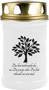 Grabkerze Weiß, Brenndauer: 48 Stunden, Motiv: Baum