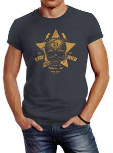 Herren T-Shirt Printshirt Skull Totenkopf Motiv Stay Wild Slim Fit Neverless® dunkelgrau XL