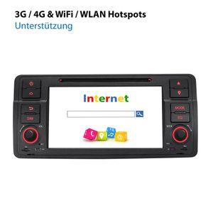 XOMAX XM-70BA: 1DIN Autoradio mit Android 10 Navi 7 Zoll Touchscreen Monitor, Bluetooth, DVD, CD, SD und USB (passend für BMW E46)