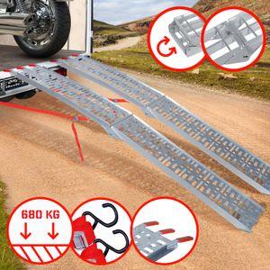 Jago® Auffahrrampe 340kg pro Rampe - 2er Set, Aluminium, klappbar, Antirutsch - Laderampe, Auffahrschiene, Anhängerrampe, Verladerampe, Verladeschiene, Fahrrampe