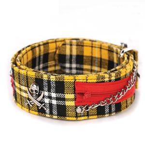Gelber Schotten Punk Pirat Nieten Gürtel 110cm