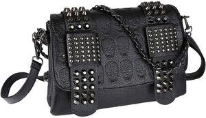 Handtaschen Damen Leder PolyurethanUmhängetasche Damen Schultertasche Handtasche Damen Skull Tasche mit Nieten Punk Rock Schwarz— QingShop