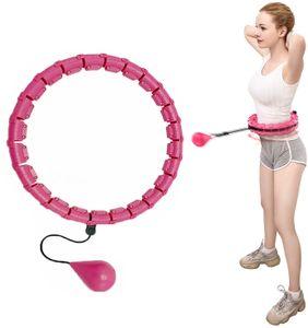 Hula Fitness Hoop, intelligenter massagewichteter Hula-Hoop-Reifen, niemals fallend Einstellbare Größe Geeignet für erwachsene Jugendliche Kinder Anfänger(Rosa)