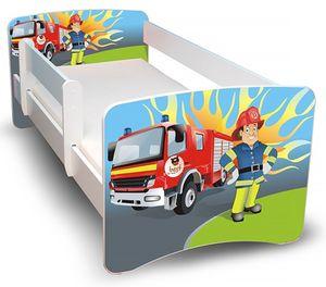 Best for Kids Kinderbett 90x200 cm mit Matratze und Rausfallschutz Feuerwehr