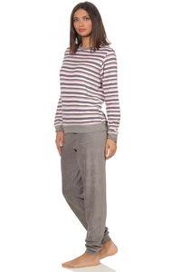 Edler Damen Frottee Pyjama langarm Schlafanzug mit Bündchen in Streifenoptik - 291 13 569, Farbe:rosa, Größe:48/50