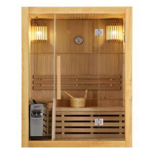 Artsauna Saunakabine Tampere mit Harvia Ofen – 2 Personen – Hemlock Holz, große Glasfront und LED Licht – Inkl. Thermometer & Sanduhr – Komplett Set