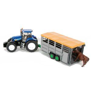 Bruder New Holland T8040 mit Viehtransportanhänger und Kuh