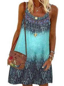 Ärmelloses Rundhals-Boho-Kleid Mit Blumendruck Für Frauen,Farbe: Grün,Größe:M