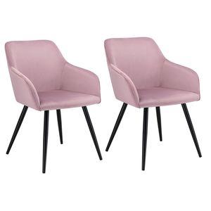Juskys Esszimmerstuhl Tarje 2er Set – Gepolsterter Loungesessel mit Armlehne & kratzfesten Beinen – Moderner Polsterstuhl mit Samtbezug in Rosa