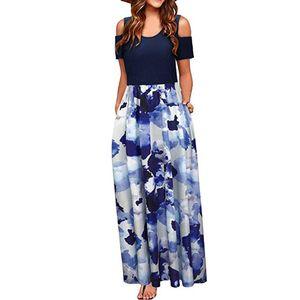Frauen Sommer kalte Schulter Blumendruck Elegantes Maxi Langes Kleid Taschenkleid Größe:XL,Farbe:Blau