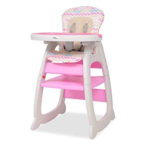 Kinderhochstuhl Treppenhochstuhl 3-in-1 verwandelbarer Hochstuhl mit Essbrett Kombihochstuhl Rosa