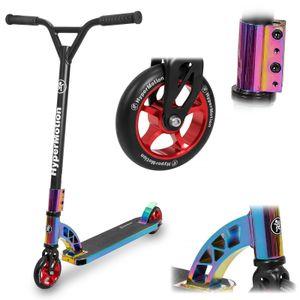 Stunt Skateboarding Scooter für Kinder ab 8 Jahre, Erwachsene und Anfänger 360° Lenkung - Trick Roller Kickboard- Hologram/Regenbogen