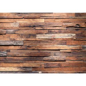 Fototapete Holz Tapete Holzwand Steinoptik Holz Wand Mauer Holztapete braun   no. 174, Größe:400x280 cm, Material:TIPP   Fototapete Vlies - PREMIUM PLUS HiQ