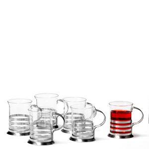 Leonardo Balance Teeglas 6er Set, Teetasse, Teebecher, Tee Tasse, Glas / Edelstahl, 17588