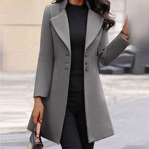 Damenmode Langarm Wollrevers Einfarbiger langer Jackenmantel Größe:L,Farbe:Grau