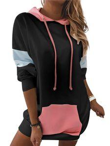 Damen Loose Hoodie Taschenkleid Langarm Loose T-Shirt,Farbe: schwarz,Größe:XL