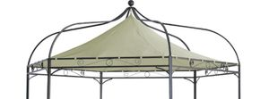 DEGAMO Pavillondach Pavillonplane Ersatzdach für Pavillon MODENA 6-eckig, Polyester PVC-beschichtet écru