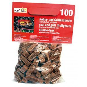 Firemaker Kaminanzünder Kohle Grillanzünder aus Naturholz mit Wachs 100 Stück