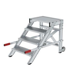 Günzburger Steigtechnik Arbeitspodest fahrbar, Stufenbreite 600 mm, Aluminium geriffelt 4 Stufen