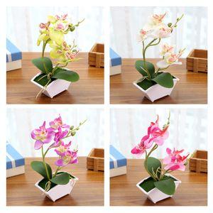 4 Stück Künstliche Orchidee Bonsai Faux Flower Indoor Outdoor Office Home Decor