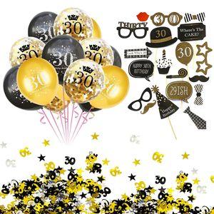 Oblique Unique 30. Geburtstag Party Feier Deko Set - Ballons + Fotorequisiten + Konfetti