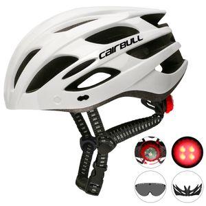 Rennrad-Mountainbike-Helm mit Rücklichtern, Kappen und Schutzbrille, mit CE-Verträgen Abnehmbare Visierbrille Fahrrad-Fahrradschutzhelm 22 Belüftungsöffnungen 【weiß; Kopfumfang: 55-61cm】