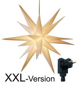 XXL Ø 100 cm 3D Leuchtstern / Weihnachtsstern mit warm-weißer LED Beleuchtung und Timer / für Innen und Außen geeignet (IP44) / hängend / 7,5 m Zuleitung (weiß)