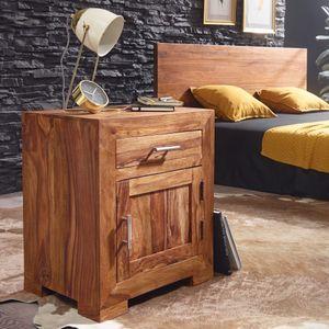 WOHNLING Nachttisch MUMBAI Massivholz Sheesham Design Nachtkommode 60 cm mit Schublade und Tür Nachtschrank für Boxspringbett