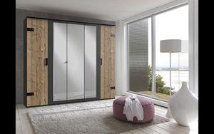 Schlafzimmer Komplett Set STOCKHOLM Bett Kleiderschrank 225cm graubraun Spiegel