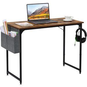 Computertisch Schreibtisch mit Aufbewahrungstasche & Haken, Bürotisch Arbeitstisch, 100 x 50 x 75 cm, Vintage Braun